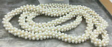 "Tube Thick Rope Long Flapper 42"" Vintage Style Necklace Faux Pearl Woven"