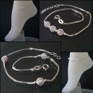 Fußkette 925 Silber Fußkettchen Veneziakette 23-26cm Perlen Fußschmuck Fuss VE16