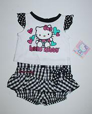 HELLO KITTY~USA~50-56~T-Shirt + Shorts~Sommer~Mädchen~Katze~Babykleid~Puffhose