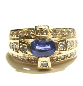 14k yellow gold .35ct VS1 G diamond oval sapphire ring 7.8g ladies 4.75