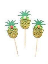 10 Pcs Flower Pineapple Luau Summer Birthday Party Cupcake Topper