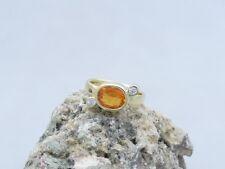 Ausgefallener Ring aus 585er Gelbgold | Citrin & Brillanten ca. 0,10ct. - Gr. 51