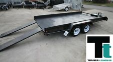 Box Car Trailer 14x6'6 Tandem Car Carrier with sides *NEW TYRES*
