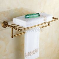 Antique Brass Bathroom Towel Rack Holder Wall Mounted Bar Storage Rail qba087