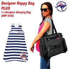 Black Baby Nappy Bag PLUS Designer Boy Merino Wool Baby Sleeping Bag 6-18 months
