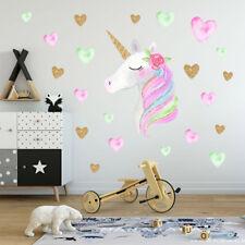 Colorful Unicorn Hearts Stars Wall Art Stickers Kids Girls Bedroom Nursery Decal