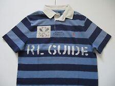 "POLO RALPH LAUREN Men's Custom-Fit Vintage Striped ""RL GUIDE"" Rugby Shirt M"
