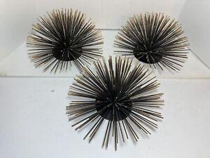 "Set of 3 Metal Wall Art Home Decor Starburst Sea Urchin Atomic Era Style 9.5"""
