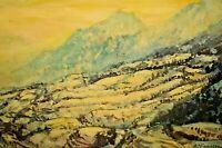 ANDRE VIGNOLES Original Signed Vintage Seasonal Mountain Landscape Oil Painting