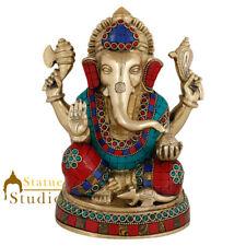 "Brass Ganesha Statue Ganesh Idol Ganpati Blessing Elephant God Lucky Decor 8"""
