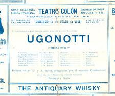 "ROSA RAISA TEATRO COLON OF ARGENTINA 1916 OPERA ""UGONOTTI""  SOUVENIR PROGRAM"