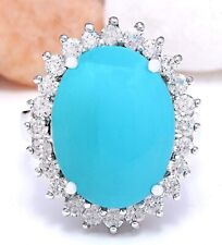 8.32 Carat Natural Turquoise 14K Solid White Gold Diamond Ring