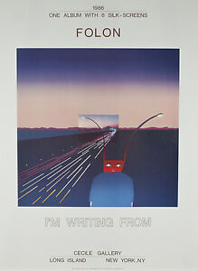 """I Am Writing From Mt. Fuji"" by Jean Michael Folon Poster 30""x22"""