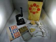 Vintage Collectible 1972 GILBERT MICROCRAFT Microscope Lens Light Slides Manual
