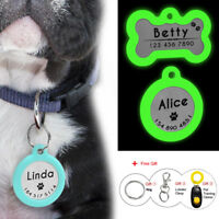 Personalized Dog Tags Glow Cat Pet Tag Silencer Bone/Round Tag Glow in The Dark