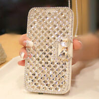 Luxury 3D Bling Diamond Bow Flip Wallet Leather Case Cover For SmartPhone S001