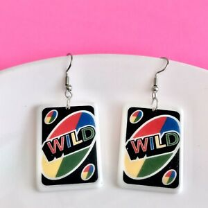 UNO Card Game Fun Dangle Acrylic Earrings /Festival/ Quirky Novelty Game Night
