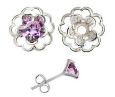 Earring Set Pink Cubic Zirconia & Silver Flower Earring Jacket