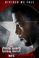 Captain America Civil War Movie Poster 24x36 Chadwick Boseman, Black Panther v12