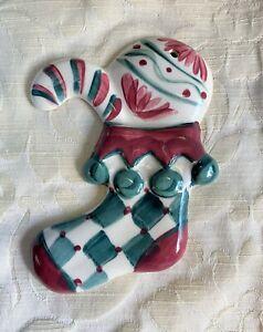 "Gail Pittman Hand Signed 2004 Harlequin Stocking Candy Cane Handpainted 6"""