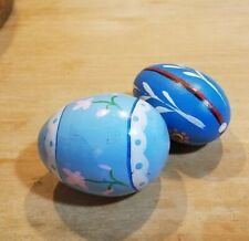 An Excellent Vintage Primitive Hand Painted Wood Egg Lot Of 2