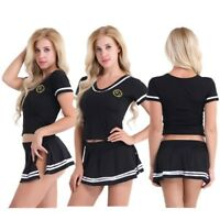 School Girl Dress Fancy Cheerleader Costume Sexy Uniform Lingerie Women's Outfit