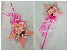 Flower Girl Floral Wand - Pink Star Wand with Butterflies, Flower Wand for Girl