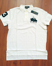 RALPH LAUREN Mens Custom Fit Cotton Dual Match Pony Polo White L  NWT