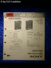 Sony Service Manual WM 2091 / F2095 Cassette Player (#0685)