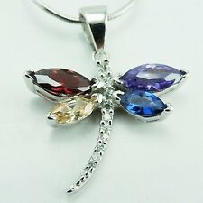 925 Sterling Silver Multi Color CZ  Butterfly Pendant
