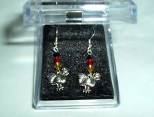 ROOSTER EARRINGS NIB 3-4mm  crystals Chicken