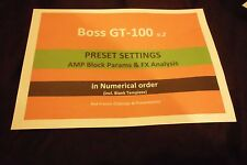 BOSS GT100  v2 - PRESETS (200) -  Settings + TEMPLATE (Secured PDF)