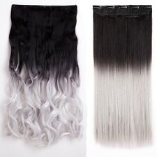 USA Clip in Hair Extensions Piece Sexy Long Curly As Human Hair Heat Resistant A
