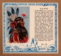 1952 Red Man American Indian Chiefs #32 / Lean Wolf / Gros Ventres / T129