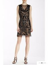 Lotus Threads Hand Beaded Art Deco Black and Illusion Cocktail Dress M Nwt