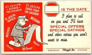 Vintage 1960s Pharmaceutical Advertising Postcard PLOUGH Salesman's Appt. Card