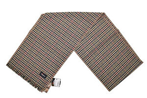 Wigens NWT SCarf In Cream Navy Green Red & Brown Plaid Wool Blend