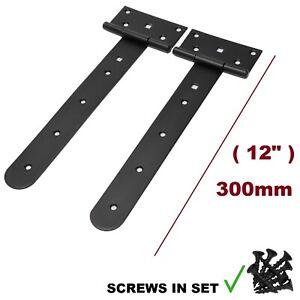 """Pair 300 mm ( 12"""" ) Tee Hinges Black Heavy Duty Strap T Door Backflap Gate SLOO"""