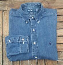 Ralph Lauren Polo XL Chambray Indigo Blue Soft Denim Jean Shirt Men 17 34/35