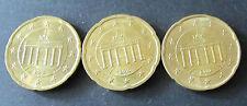 3 x 20 céntimos de euros-moneda de alemania año de emisión 2010 prägest. d, f + J de circulación