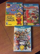 Paper Mario Color Splash & Super Mario Maker & Super Smash Bros(Nintendo Wii U)