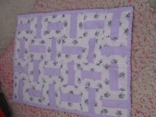 Beautiful small baby nursery or crib quilt lavender floral roses spring chic