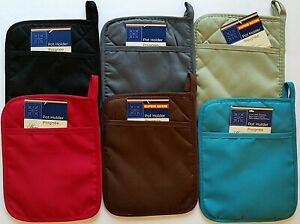 """Kitchen Polyester/Neoprene Pot Holders 9"""" X 7"""" with Hand Pocket, Select Color"""