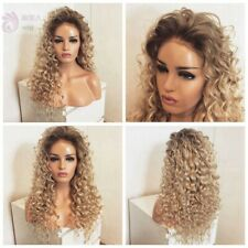 "24"" Women Lace Front Wig Kinky Curly Ombre Blonde Handtied Heat Safe Fiber Hair"