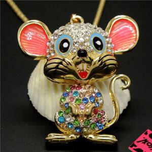 New Cute Multicolor Crystal Enamel Cartoon Mouse Betsey Johnson Pendant Necklace
