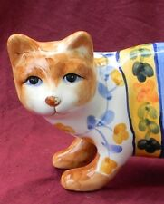 "Ceramic Hand Painted Cat Figurine multi color 9"" long 6 1/2"" tall"