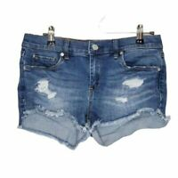 BLANKNYC The Astor Cut-Off Jean Shorts Sz 26 Distressed Raw Hem Medium Wash