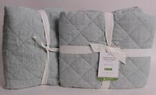 set/2 New Pottery Barn Belgian Flax Linen Diamond euro shams, mineral blue