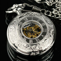 INFANTRY Mens Mechanical Pocket Watch Double Hunter Vintage Antique Design Chain