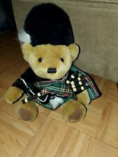 Harrods Knightsbridge Teddy Bear Plush Piper Scottish Bagpipes Tartan Stuffed Nw